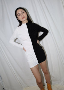 VINTAGE BLACK & WHITE COLOR BLOCK BODYCON DRESS (S)