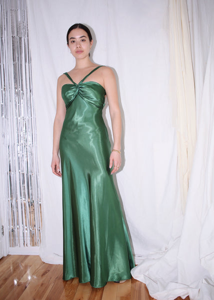 VINTAGE EMERALD GREEN SATIN GOWN (S)