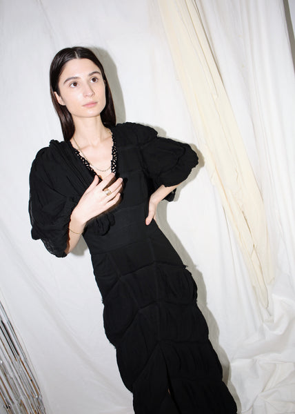 VINTAGE FENDI BLACK RUFFLED SILK GOWN (XS)