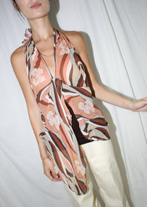 VINTAGE ESPRIT BROWN PRINTED SILK HANDKERCHIEF TOP (L)