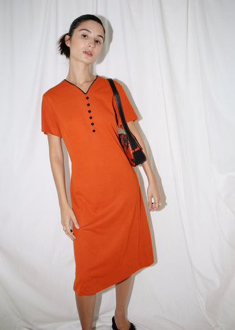VINTAGE TERRACOTTA MIDI DRESS WITH BLACK BUTTONS (M)