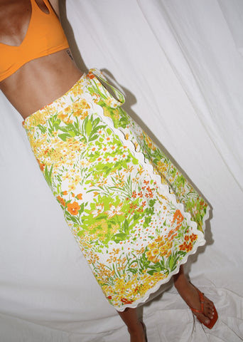 VINTAGE GREEN & YELLOW FLORAL WRAP SKIRT (S)
