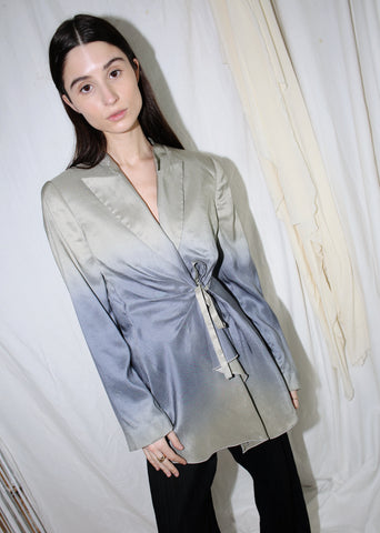 VINTAGE GEORGIO ARMANI GRAY SILK JACKET (L)