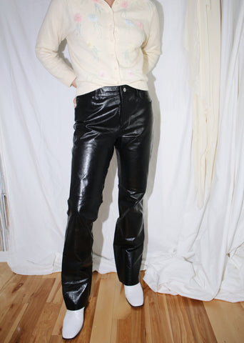 VINTAGE BLACK LEATHER TROUSERS (S)