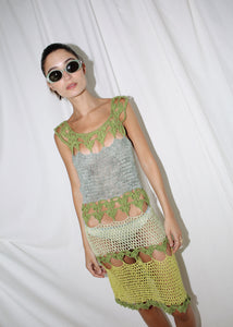 VINTAGE GREEN PERFORATED KNITTED DRESS (S)