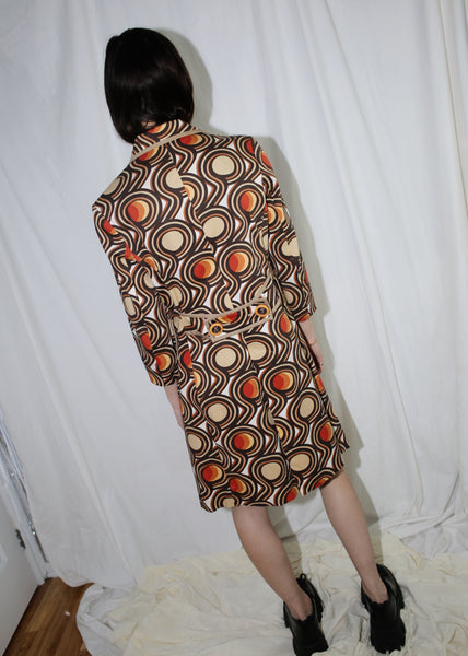 VINTAGE BROWN & ORANGE 60'S PRINTED COAT (XS)