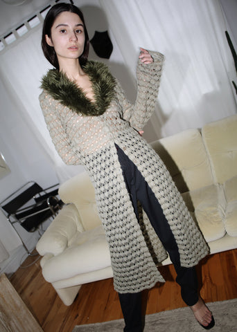 VINTAGE GREEN CROCHET MAXI CARDIGAN WITH FAUX FUR COLLAR (S)
