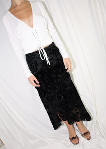 VINTAGE BLACK FRILLY SILK & VELOUR MIDI SKIRT (S)