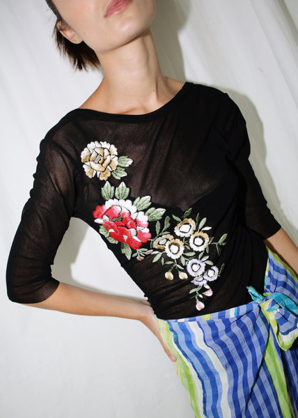VINTAGE JEAN PAUL GAULTIER BLACK OPEN BACK TOP WITH FLORAL EMBROIDERY (S)