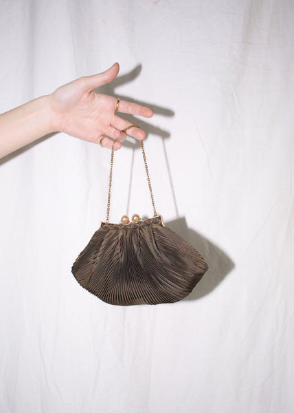 VINTAGE BROWN MICRO PLEATED PURSE WITH PEARL CLASP