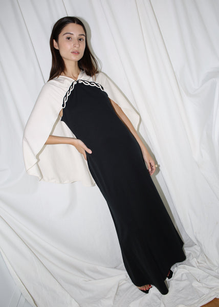 VINTAGE BLACK & WHITE MAXI DRESS (S)
