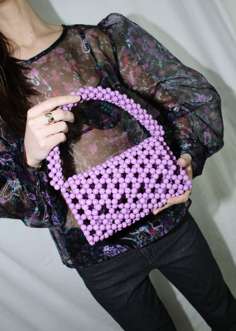 CYNARA PURPLE BEADED AONA BAG