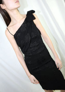 VINTAGE BLACK ONE SHOULDER MIDI COCKTAIL DRESS (XXS)