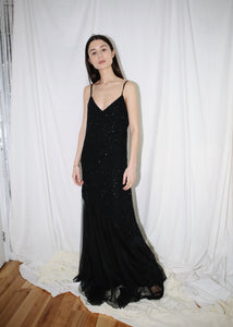 VINTAGE BLACK SEQUINNED FISHTAIL GOWN (M)
