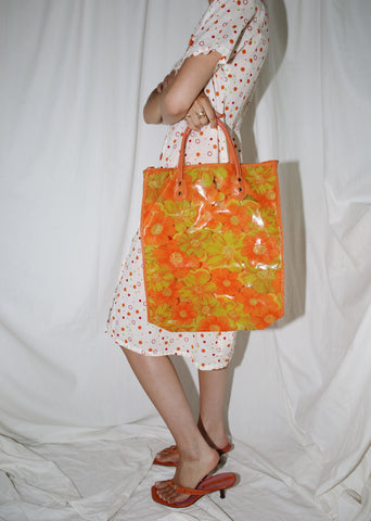 VINTAGE ORANGE FLOWER POWER 60'S VINYL MARKET BAG