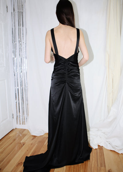 VINTAGE CALVIN KLEIN BLACK LONG GOWN (S)