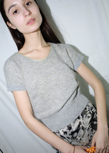 VINTAGE SPARKLY GRAY T-SHIRT SWEATER (M)