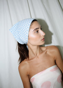 VINTAGE BLUE CHECKER HANDKERCHIEF HEAD SCARF