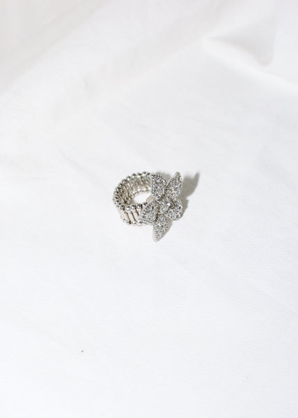 VINTAGE ADJUSTABLE RHINESTONE FLOWER RING