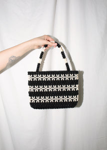 VINTAGE BLACK & WHITE BEADED HANDBAG