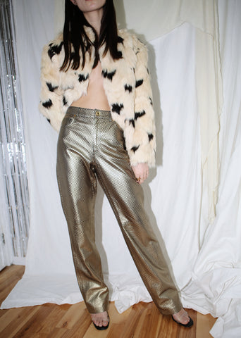 VINTAGE RALPH LAUREN GOLD & BLACK FAUX LEATHER PANTS (M)