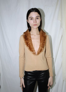 VINTAGE TAN SWEATER WITH BROWN FAUX FUR V NECK (S)