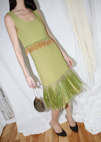 VINTAGE GREEN BEADED FLAPPER DRESS WITH MATCHING TOP (S)
