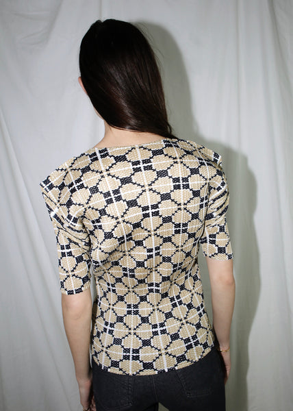VINTAGE ISSEY MIYAKE PLEATS PLEASE BEIGE & BLACK PRINTED TOP (M)