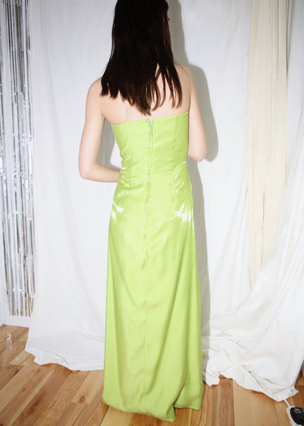 VINTAGE GREEN STRAPLESS GOWN WITH FLOWER EMBELLISHMENTS (S)
