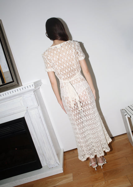 VINTAGE WHITE CROCHET KNITTED MIDI SUMMER DRESS (XS)