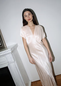 VINTAGE LIGHT PINK BIAS CUT SATIN WEDDING DRESS (S)