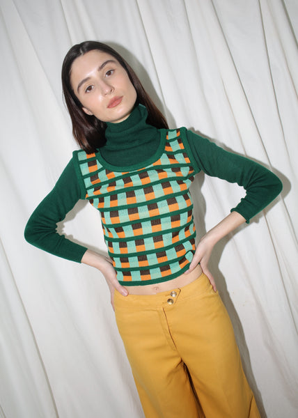 VINTAGE GREEN PRINTED TURTLENECK SWEATER (XS)