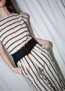 VINTAGE BLACK WOOLEN FABRIC BELT (S)