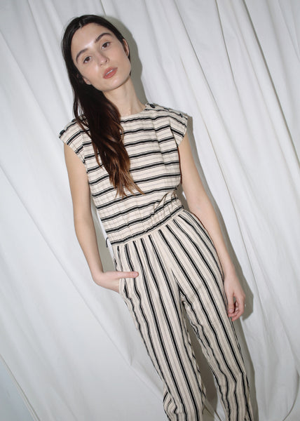 VINTAGE BEIGE & BLACK STRIPED JUMPSUIT (XS)