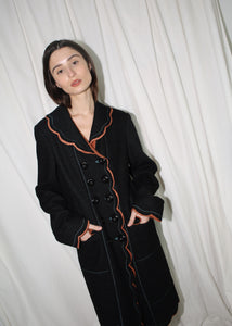 VINTAGE MOSCHINO BLACK SCALLOPED COAT (S)