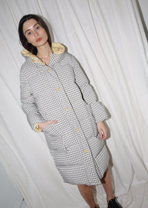 VINTAGE REVERSIBLE CHECKER PRINT & YELLOW PUFFER COAT (S)