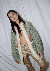 VINTAGE GREEN CROCHET COAT WITH FUZZY CREAM TRIM (S)