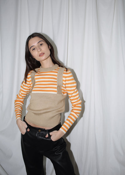 VINTAGE ORANGE STRIPED APRES SKI SWEATER (S)