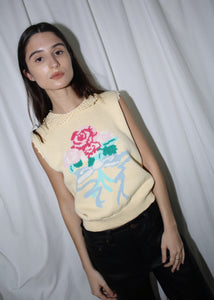 VINTAGE ROSE PRINT YELLOW SWEATER VEST WITH COLLAR (S)