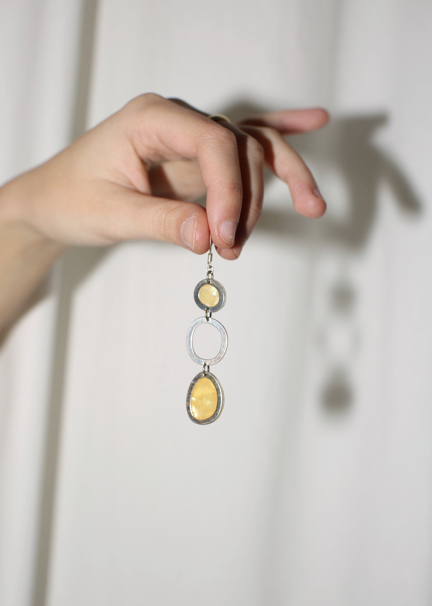 VINTAGE SILVER & YELLOW DROP EARRINGS