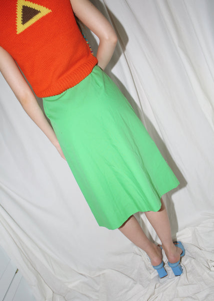 VINTAGE GREEN MIDI BUTTON DOWN SKIRT (M)