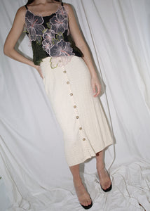 VINTAGE CREAM KNIT BUTTON DOWN SKIRT (L)