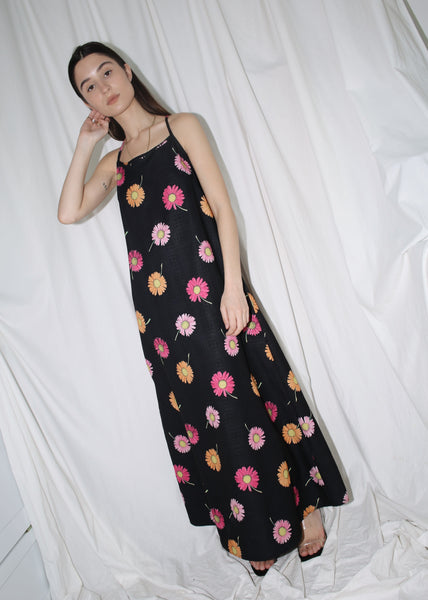 VINTAGE BLACK FLORAL MAXI SUMMER DRESS (M)