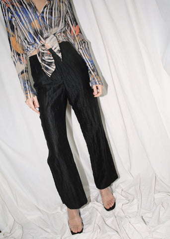 VINTAGE BLACK CRINKLED PANTS (S)