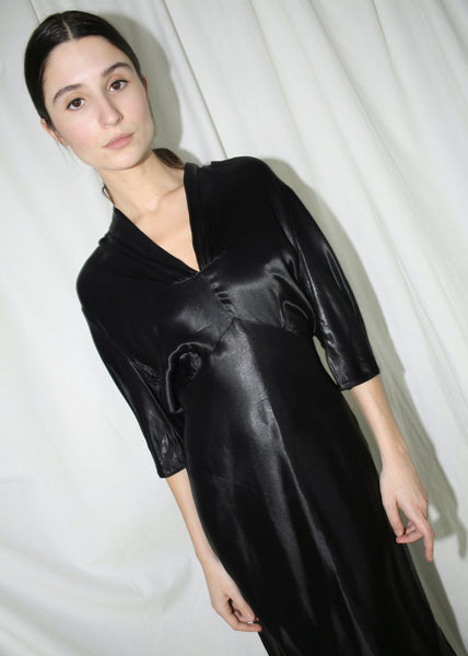 VINTAGE BLACK SATIN-FEEL COCKTAIL DRESS (S)