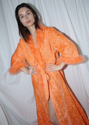 VINTAGE ORANGE FLORAL DEVORE VELVET LONG HOUSE COAT (O)