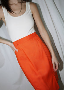 VINTAGE ORANGE LINEN PENCIL SKIRT (M)