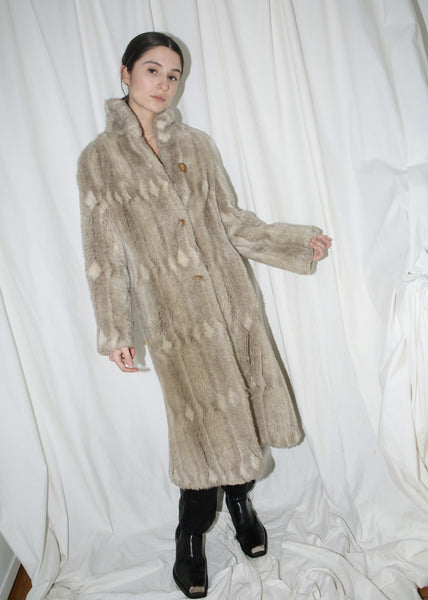 VINTAGE GRAY FAUX FUR LONG COAT (XS)