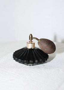 VINTAGE BLACK GLASS PERFUME BOTTLE WITH ATOMIZER