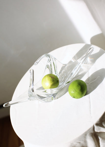 VINTAGE CLEAR GLASS FOLDED BOWL